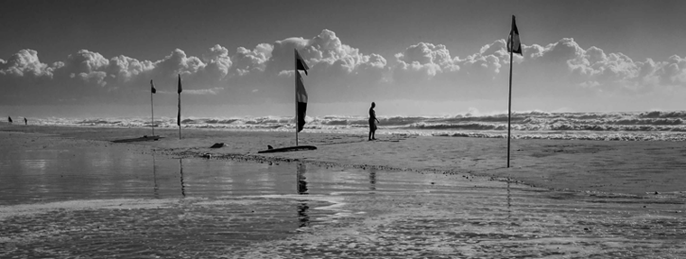 black & white beach scene